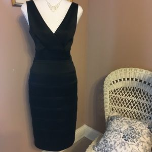 Calvin Klein black satin occasion dress.